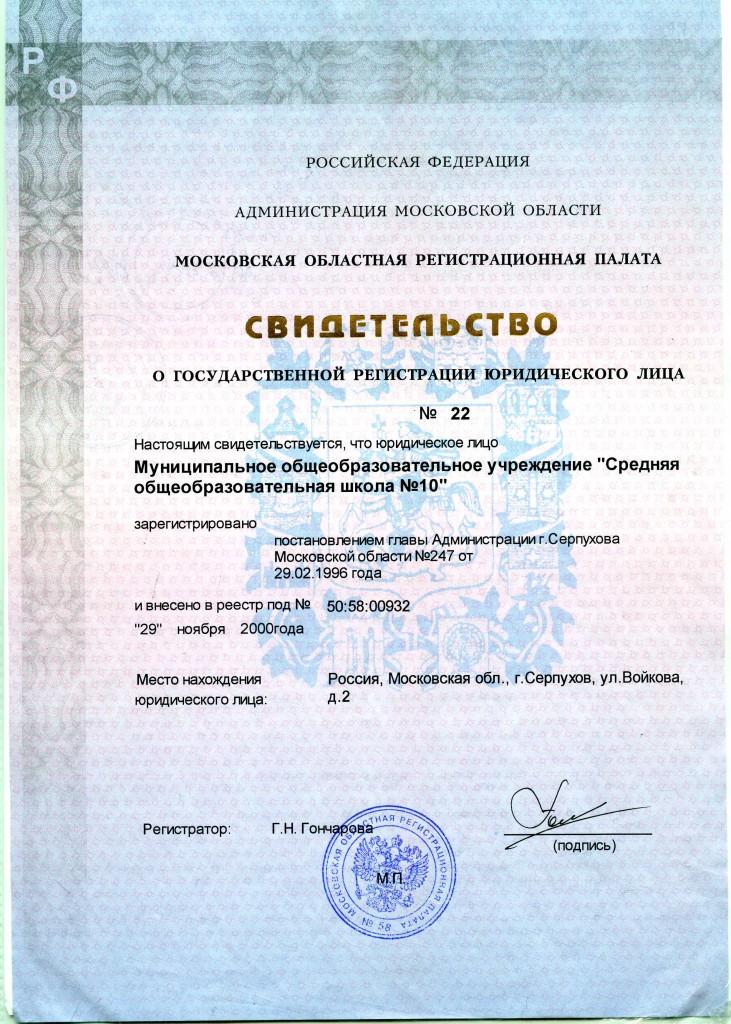 Свидетельствово о гос.регистрации